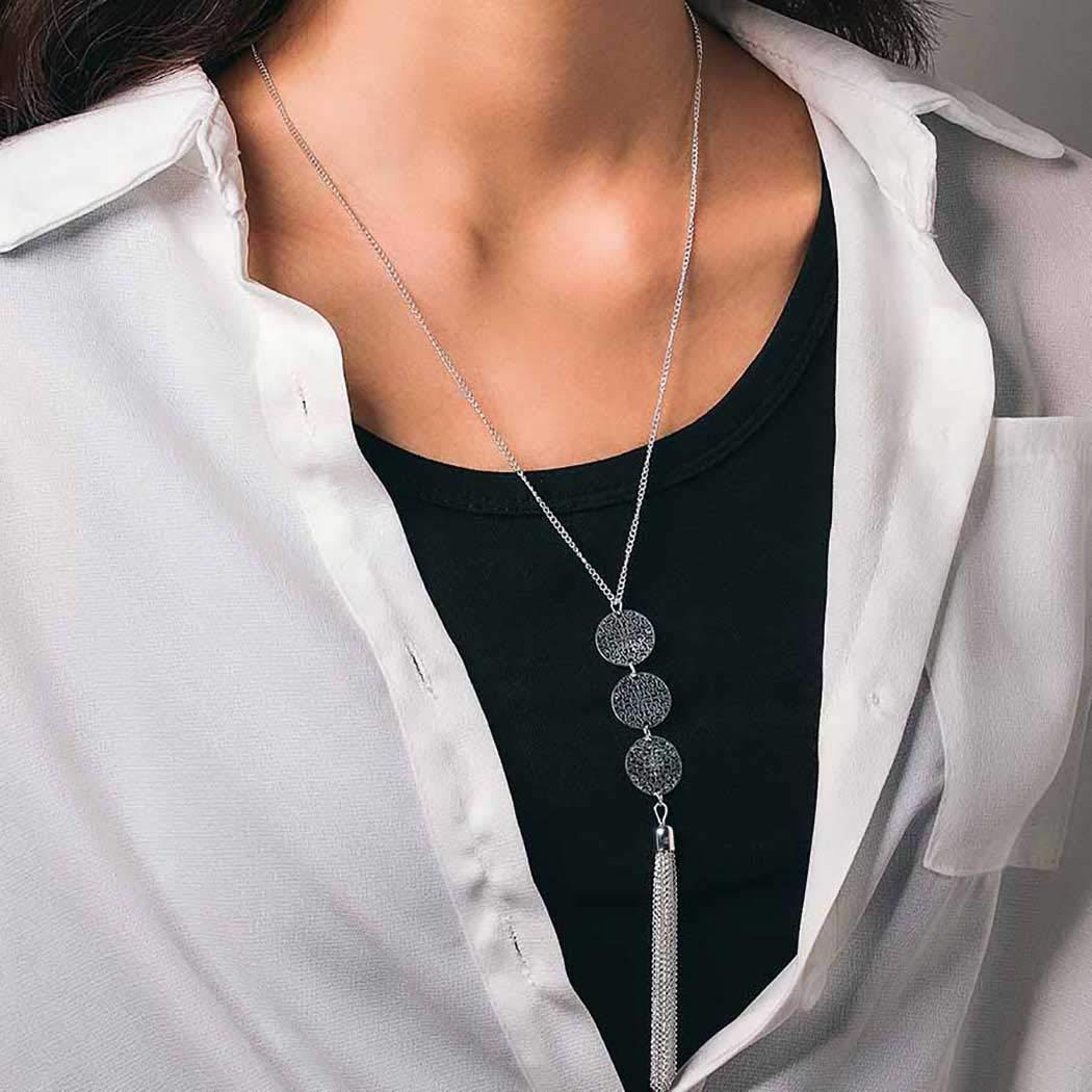 Mosako Boho Large discharge sale Tassel Necklaces Long Chain Necklace New item Pendant S Round