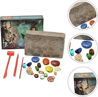 Tomaibaby Gemstone Dig Kit Kids Digging Excavation Kit Stones Mega Gems Digging Kit for Kid Child Pupils Mineralogy Geolog...