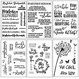 Silikonstempel Sprüche Deutsch Set,6 Blätter Geburtstag Stempel, Clear Stamps...
