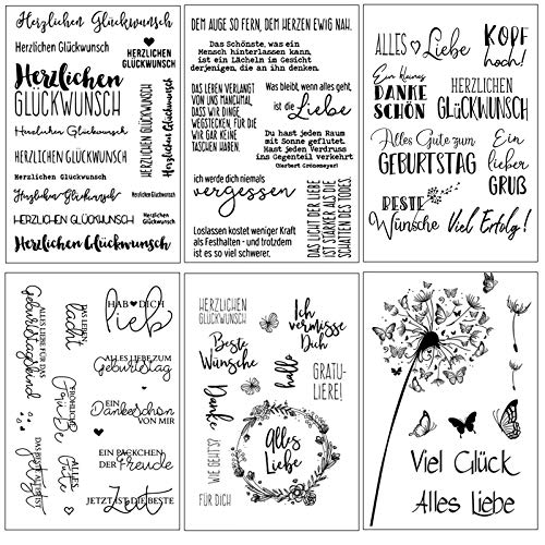 Silikonstempel Sprüche Deutsch Set,6 Blätter Geburtstag Stempel, Clear Stamps Glückwünsche,Blumen und Schmetterling Clearstamp Set für DIY Bullet Journal Scrapbooking Fotoalbum Kinder Stempelset