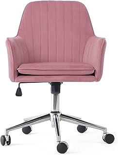 Irene house Silla giratoria de oficina regulable en altura Silla de escritorio ergonómica silla de dormitorio de tela terciopelo estilo moderno (rosa)