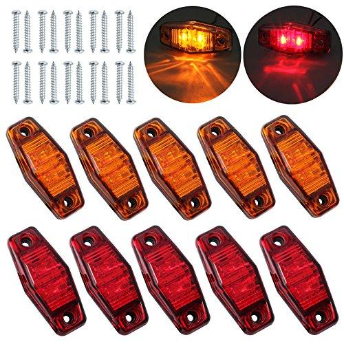 Justech Côté Feux de Gabarit Latéraux Fender Marqueur Assembly LED Étanche Position 10pcs Côté Lampe 12V 24V pour Remorque Van Caravane Camion Voiture Bus Ambre+Rouge