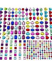 AIEX 8 vellen 365 stuks glitterstenen zelfklevende strass stickers Crystal edelsteen om op te plakken Gem stickers gesorteerde kleuren en vormen