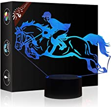 Christmas Gift Night Light 3D Beside Table Lamp Horse Riding Illusion, Gawell 7 Colors Changing Touch Switch Desk Decoration Lamps Birthday Present with Acrylic Flat & ABS Base & USB Cable