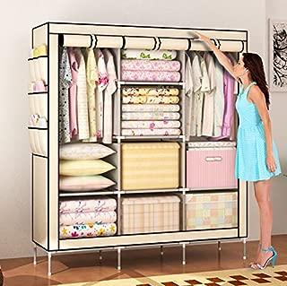 Amanda Home Portable Clothes Closet Non-Woven Fabric Wardrobe Storage Organizer (Color: Beige-51 Length x 18