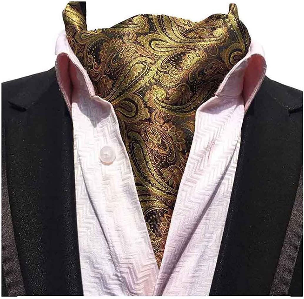 L04BABY Men's Gold Yellow Paisley Floral Silk Ties Ascot Jacquard Woven Cravat