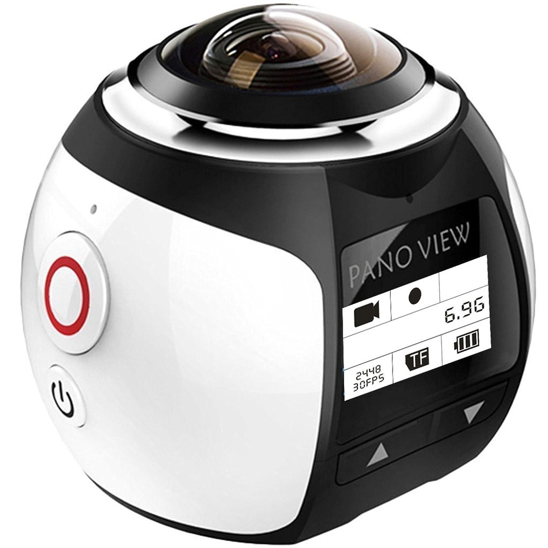 【電池2つ付き】4k アクションカメラ wifi 水中カメラ 360度カメラ 全天球 30m防水 自転車 空撮 3D?VR仮想メガネサポート アプリで八種類撮影モード 遠隔操作 日本語対応 V1(シルバー)
