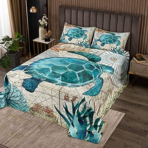 Meer Schildkröte Tagesdecke 220x240cm Blau Ozean Strand Motiv Wohndecke Retro Schildkröte Bettüberwurf Hawaiin Schildkröte Gedruckt Steppdecke mit 2 Kissenbezug für alle Jahreszeiten