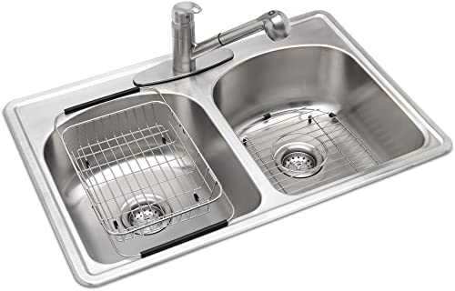 high quality All-in-One Top Mount discount Stainless Steel 33 in. 3-Hole Double 2021 Bowl Kitchen Sink in Brush online