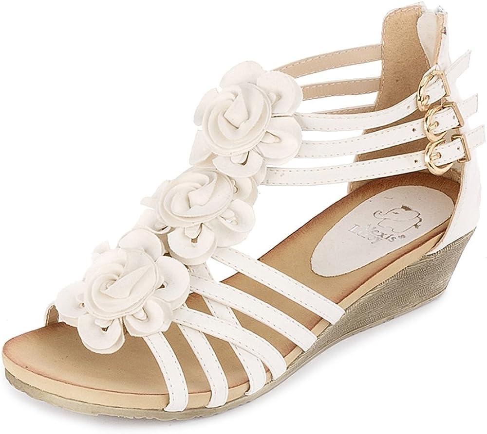 Alexis Leroy Women's Challenge the lowest price of Japan Summer Under blast sales T-Straps Buckle Wedge Fashion Design