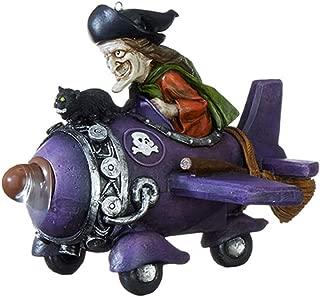 RAZ Imports Animated Witch in Plane Halloween Figurine Decoration, 7 Inch