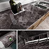 Livelynine Dark Marble Wall Paper for Counter Top Covers Peel and Stick Wallpaper Decorative Adhesive Marble Paper for Dining Table Cover Old Furniture Decor 15.8x78.8Inch