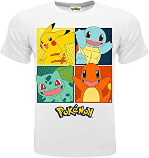 Pokémon T-shirt original blanc 4 personnages Pikachu officiel T-shirt enfant garçon
