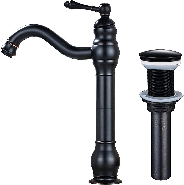 Athraoay Wasserhahn Bad Waschtischarmatur Einzelne Bohrung Coutntertop Wasserhahn ein Griff mit Pop up DrainOil rieb Bronze (kein überlauf) Badarmatur Waschbecken Mischbatterie