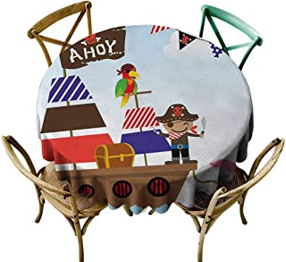 Oncegod Resistant Table Cover Ahoy Its a Boy Cute Pirate Kids Treasure Chest with Ship on Ocean Background Illustration for Events Party Restaurant Dining Table Cover 63 INCH Multicolor