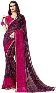 Ethnic Emporium Stylish Sleek Border Georgette Fancy Saree Light Occasional Muslim Women Sari Blouse Combo of 2 9261