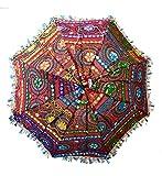 Dekorative indische Handarbeit Dekorative Baumwolle Spiegel Arbeit Stickerei Regenschirm, Garten Regenschirm, Boho Umbrella böhmischen indischen Hochzeit Regenschirme