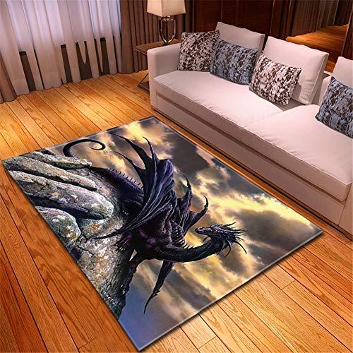 Alfombra Home Habitación Infantil Lavable Suave Antideslizante baratas suelo Rugs Dragón Púrpura...