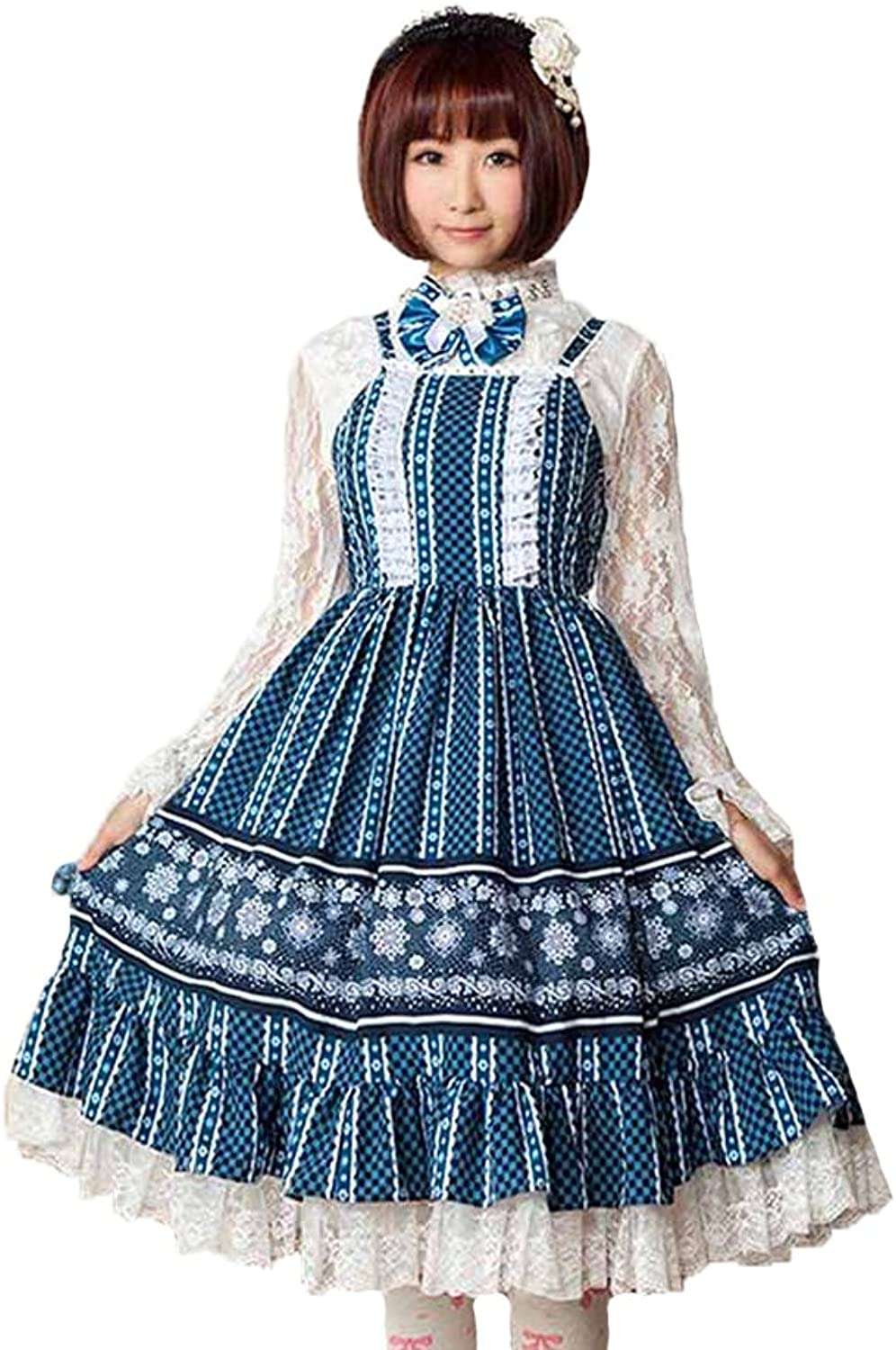 Ainclu Women's Royal bluee Polyester Gemstone Snowflakes Adorable Sweet Princess Lolita Dress