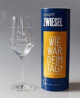 XL Wie war Dein Tag-Weinglas 1x 540ml Glas von Schott Zwiesel | Made in Germany | Guter Tag, Schlechter Tag, Frag Nicht -Weinglas mit Aufdruck | Rotwein Weißwein | Sternefresser