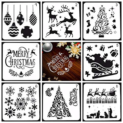 Allinlove 8 Stück Wiederverwendbarer Kunststoff Weihnachts Schablonen Zeichnung Malerei Set -Weihnachtsmann Weihnachtsbaum Schneeflocken Glocken Rentier Schablone für DIY Weihnachtsdeko