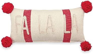 Mud Pie Fa La La Striped Pom-Pom Pillow, Multi-color, 9 inches x 18 inches