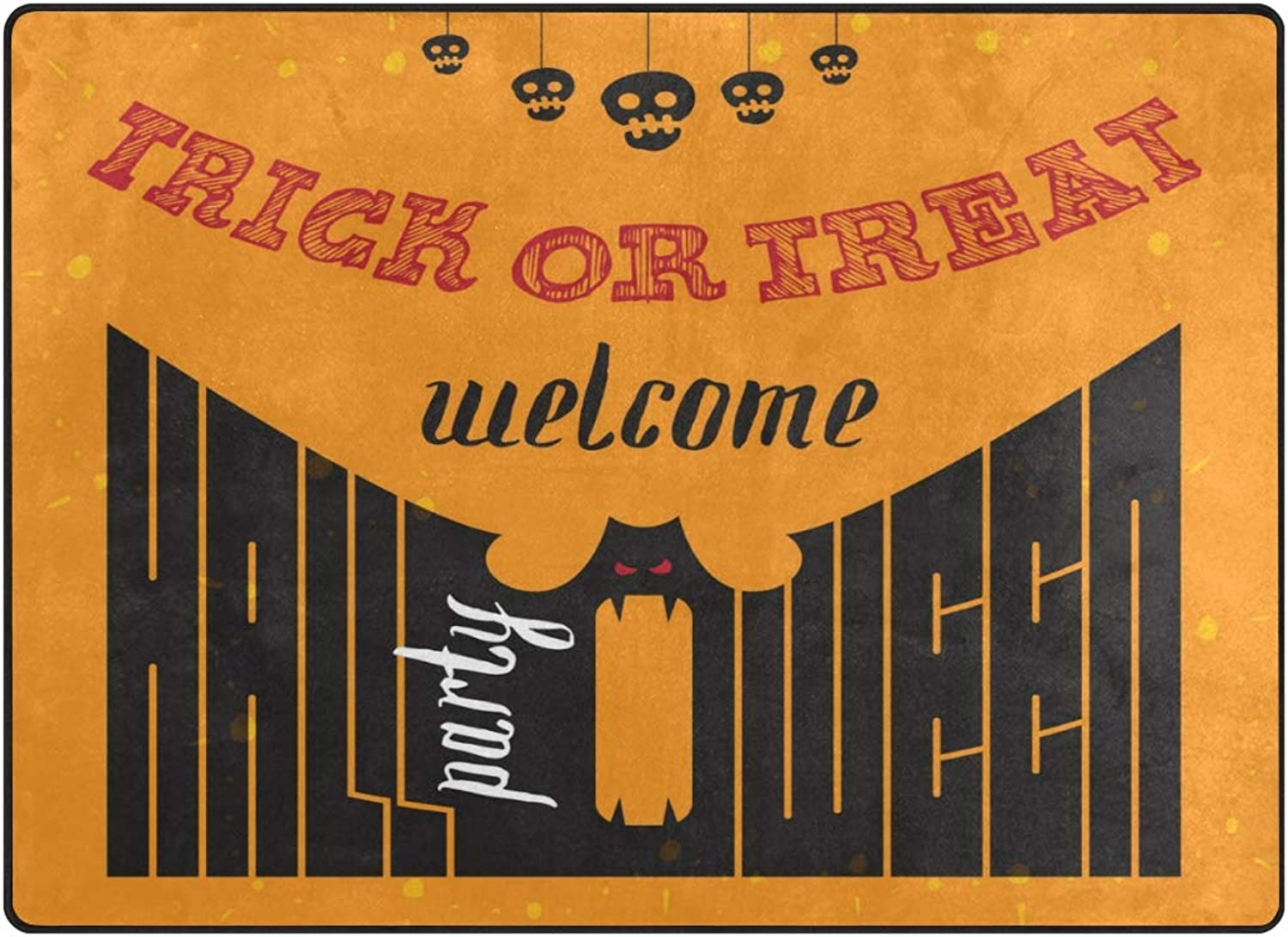SUABO Halloween Area Rug 80 x 58 inches Non-Slip Floor Mat with Welcome to Halloween Party Printed Doormats