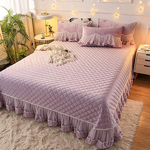 LYXQQ Bed Linen Set - Thick Coral Velvet Bed Cover - Breathable Moisture Wicking - Links Luxury Plush Throw - Purple, 245 x 250 cm