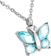 HooAMI Cremation Jewelry for Ashes Butterfly Pendant Memorial Urn Necklace