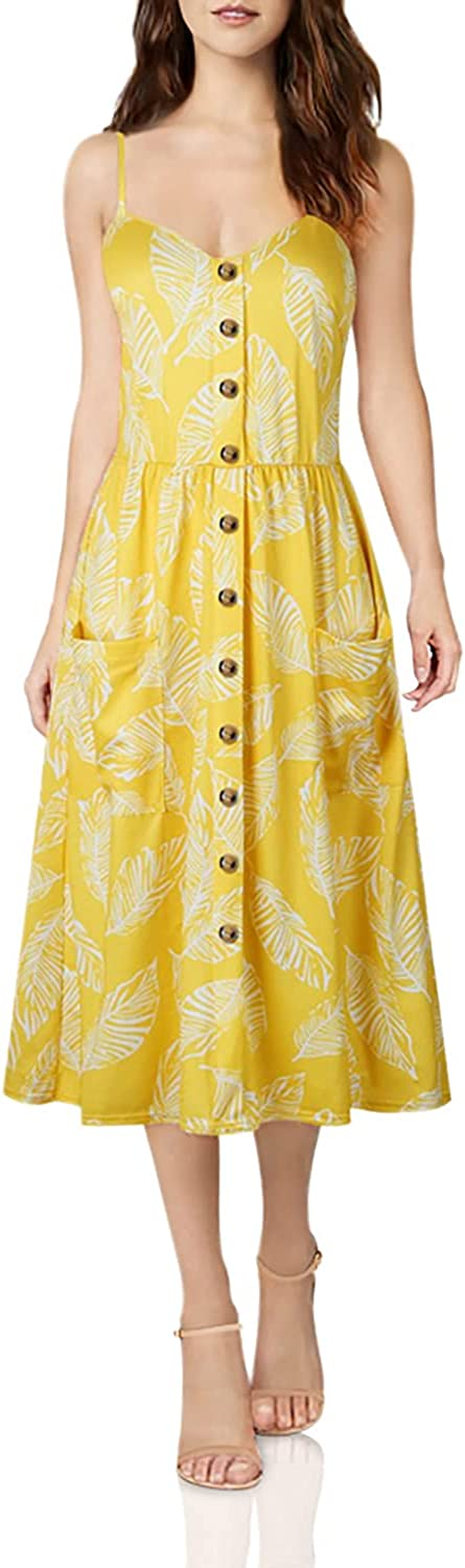 Indefinitely OCHENTA Women's Floral Spaghetti NEW before selling ☆ Strap Button Front Dress w Midi