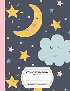 Composition Book: Sun Moon Stars Wide Ruled Blank Lined Writing Notebook   School Exercise Book For Assignments, Studying, or Notes