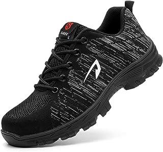 JACKSHIBO Steel Toe Work Shoes for Men Women Safety Shoes Breathable Industrial Construction Shoes Size: 9.5 Women/8 Men