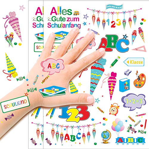 Konsait Temporäre Tattoos für Kinder, 123 und ABC Zuckertüte Kindertattoos Aufkleber Schuleinführung Schulanfang Einschulung Deko für Junge und Mädchen Kindergeburtstag Mitgebsel Party Spielen