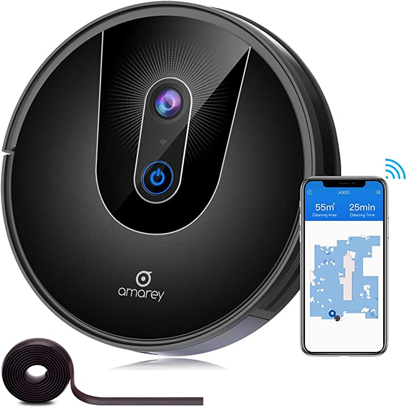 Robot Vacuum Smart Navigating Robot Vacuum Cleaner Wi Fi Connected Works With Alexa Visual Mapping APP Controls 1400Pa Strong Suction Self Charging Best For Pet Hair Hard Floors To Carpet