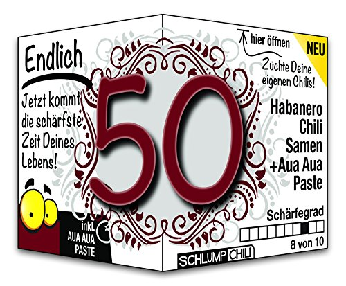 Schlump-Chili⎥Endlich 50 - das witzige scharfe Geburtstagsgeschenk. Eine originelle Geschenkidee zum 50. Geburtstag für Männer und Frauen :)