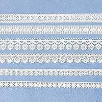 XUNHUI 連続ワッペン花白色綿レースリボントリムDIYワッペン縫い付けワッペン 刺繍 ミシン手芸 花 組合6 枚