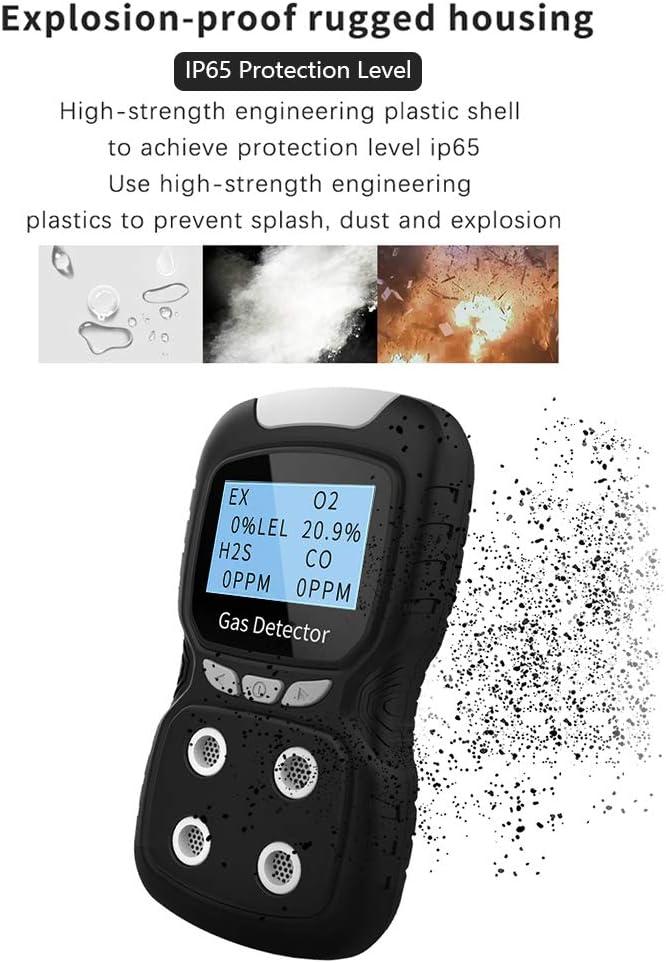Multi Gas Detector O2 EX Tester Portable Gas Monitor Handheld Gauge Con retroiluminaci/ón Pantalla LCD Sound Light Alarm Gas Sensor Analyzer Galapara Detector de 4 Gases CO H2S