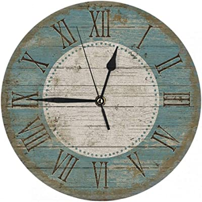 Britimes Round Wall Clock Silent Non Ticking Clock 9.5 Inch for Living Room Bathroom Kitchen School Decor Vintage Wooden 3