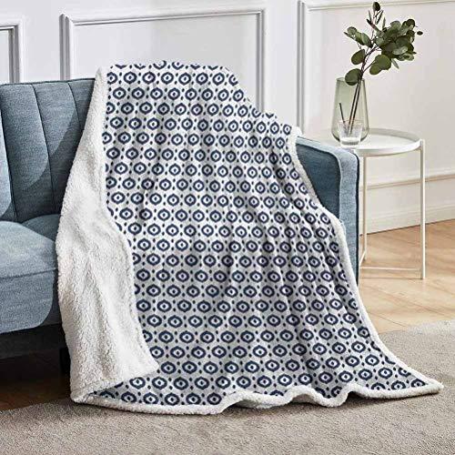 YUAZHOQI Ikat Manta personalizada, diseño geométrico indonesio tradicional con círculos y puntos, manta de forro polar difusa para sofá cama de 152 x 203 cm, azul noche blanco