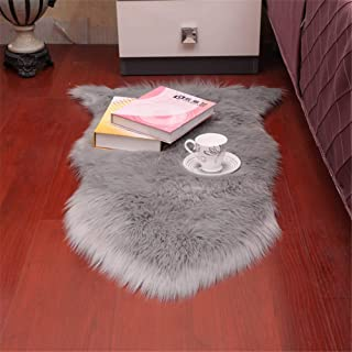 Dikoaina Classic Soft Faux Sheepskin Chair Cover Couch Stool Seat Shaggy Area Rugs for Bedroom Sofa Floor Fur Rug, Grey, 2' x 3'