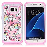 Sunshine - Tech Galaxy S7 Case, S7 Case, Rainbow Unicorn Patchwork Pattern Shock-Absorption Hard PC and Inner Silicone Hybrid Dual Layer Armor Defender Protective Case Cover for Samsung Galaxy S7