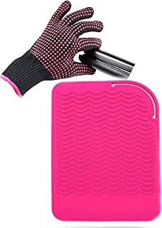 """Curling Iron Mat, Heat Resistant Mat with Heat Resistant Glove for Hair Straightener, Flat Irons, Silicone Bump Glove, 9"""" ..."""