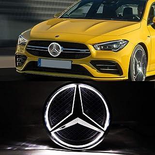LED Emblem White Light, 2013 2014 2015 Car Front Grille Badge, Drive Brighter Illuminated Logo Hood Star DRL for Mercedes Benz A B C E R GLK ML GL CLA CLS Class White Light