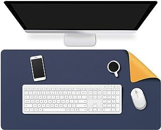 オフィス デスクマット レザー、大 拡張 ライティングマット デュアルユース コンピューターデスク プロテクター マウスパッド ために コンピューターテーブル ラップトップ (Color : Blue+Yellow, サイズ : 80x40cm...