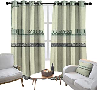 Decorative Curtains for Living Room Money,Hundred Dollar Bill Century Note Design American Currency Style Frame Pattern, Pale Green Grey,Blackout Draperies for Bedroom 52
