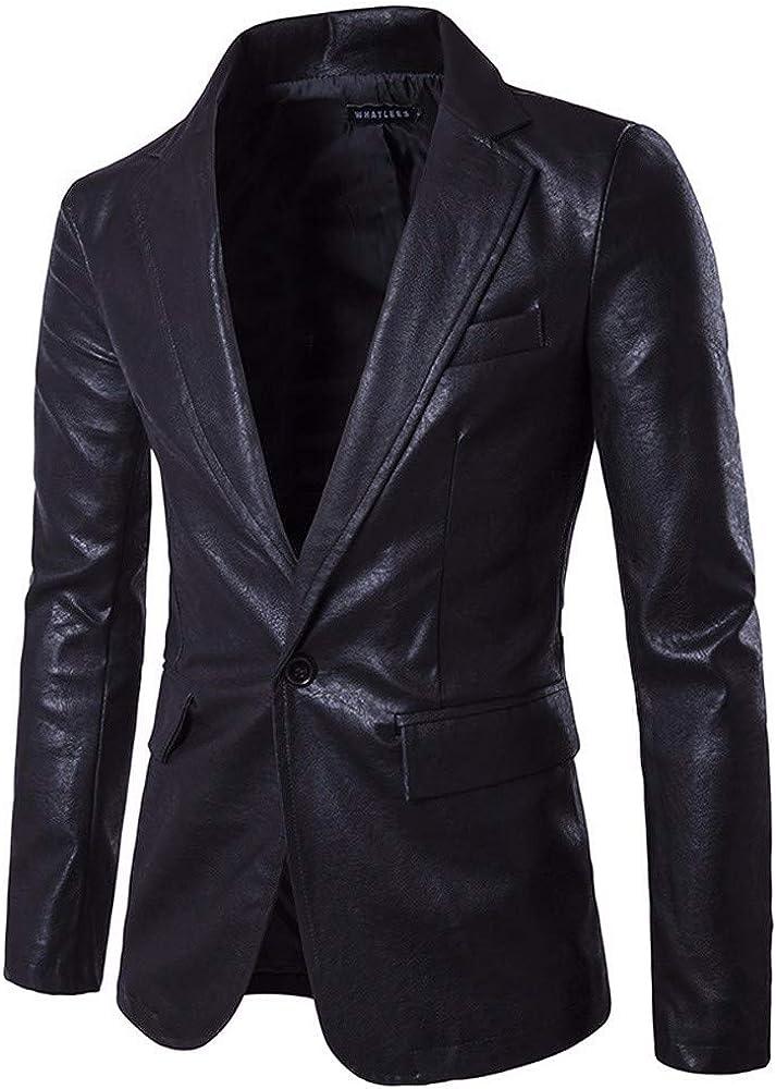 Charm Autumn Men's Casual Slim Fit One Button Suit Blazer Coat Jacket Tops Men Fashion (L, X-Black)