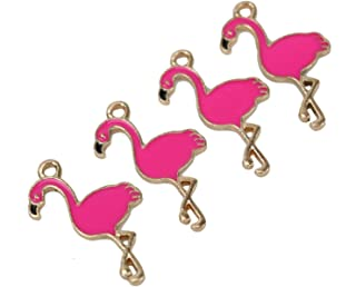 HUELE 30pcs Enamel Flamingo Enamel Charms Pendant Bulk Jewelry Making