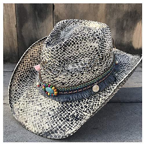WANGXINQUAN Mode Frauen Stroh Western Cowboyhut Sommer Elegante Dame Cowgirl Sombrero Sonnenhüte Mit Handarbeit Quaste Band Jazz Hut (Farbe : 2, Größe : 56-58CM)