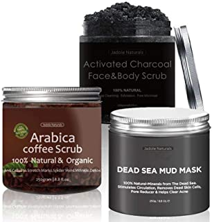 arabica Coffee, Dead Sea and activated Charcoal Body Scrub Set by Jadole Naturals