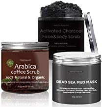 Jadole Naturals Arabica Coffee Dead Sea And Activated Charcoal Body Scrub Set 250 ml, Pack of 1